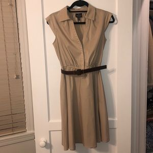 Adrianna Papell Tan Shirt Dress with Belt